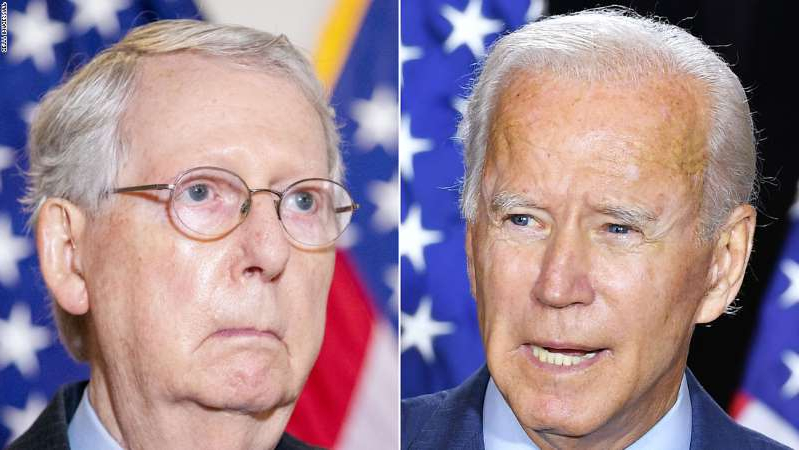 Joe Biden, Mitch McConnell are posing for a picture: Joe Biden Mitch McConnell