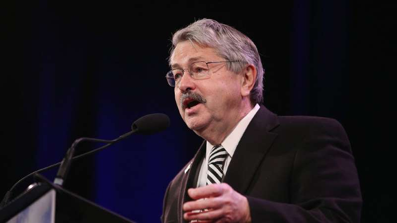 Terry Branstad wearing a suit and tie: Outgoing ambassador to China slams Beijing over coronavirus: 'Could have been contained in Wuhan'
