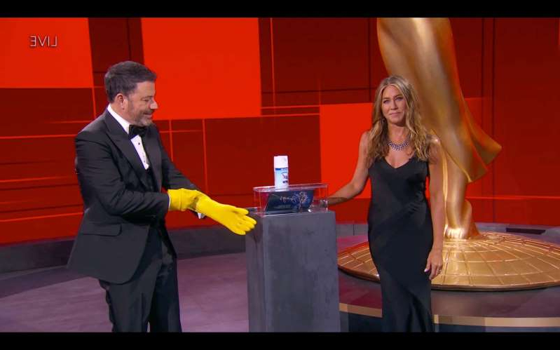 Jennifer Aniston et al. standing on a table: THE 72ND EMMY® AWARDS - Hosted by Jimmy Kimmel, the