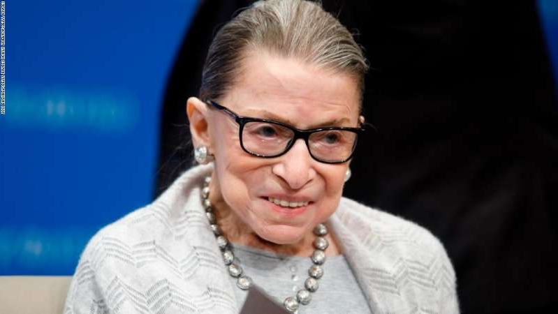 Ruth Bader Ginsburg wearing glasses: WASHINGTON, DC - SEPTEMBER 12: Supreme Court Justice Ruth Bader Ginsburg delivers remarks at the Georgetown Law Center on September 12, 2019, in Washington, DC. Justice Ginsburg spoke to over 300 attendees about the Supreme Court's previous term. (Photo by Tom Brenner/Getty Images)