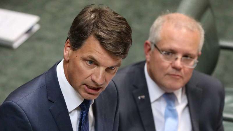 Scott Morrison, Angus Taylor MP are posing for a picture: Energy Minister Angus Taylor will announce the Government's new energy policy on Tuesday. (ABC News: Marco Catalano)