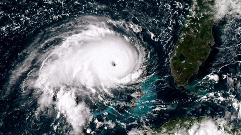 A satellite image of Hurricane Dorian as it passes over the Bahamas.