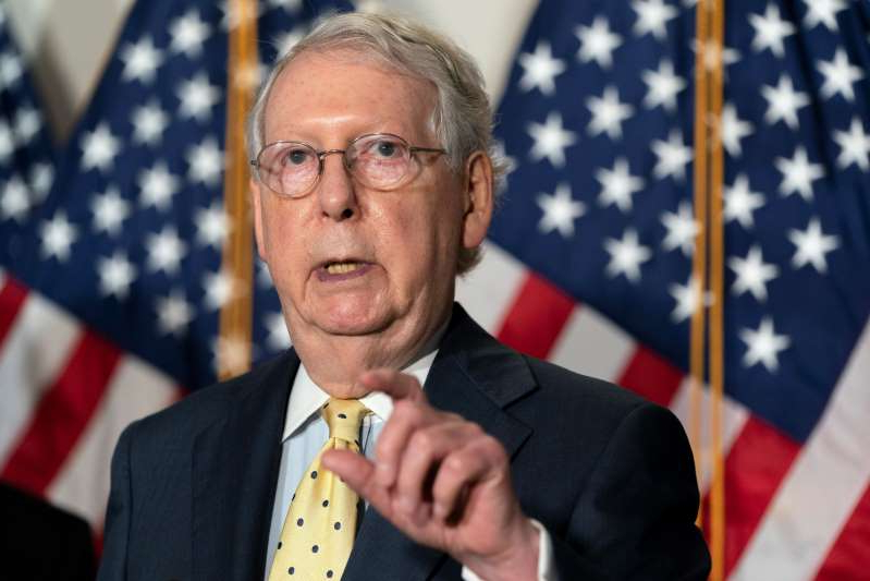 Mitch McConnell wearing a suit and tie: Senate Majority Leader Mitch McConnell. (Jacquelyn Martin/AP)