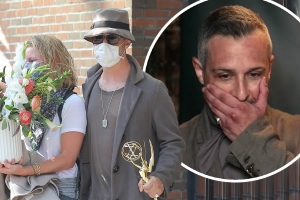Succession star Jeremy Strong carries his Emmy in New York City