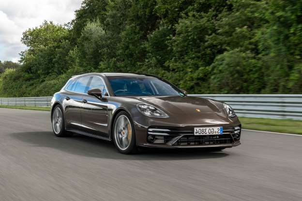 a car parked on the side of a road: Porsche Panamera Turbo S Sport Turismo 2020 review