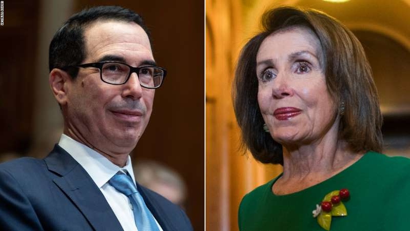 Nancy Pelosi, Steven Mnuchin looking at the camera: House Speaker Nancy Pelosi, at left, announced Tuesday she had a deal with Treasury Secretary Steven Mnuchin, pictured at right, to fund the US federal government until December.