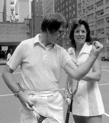 Slide 7 of 9: FILE - Undated B/W file photo Bobby Riggs poses for Billie Jean King. King won 12 Grand Slam singles titles, including six at Wimbledon, but her most famous match came in 1973 when she beat 55-year-old Bobby Riggs 6-4, 6-3, 6-3 in the