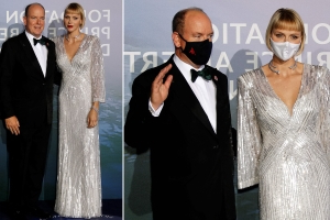 Princess Charlene is glamorous in a floor-length silver gown