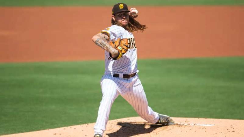 a baseball player throwing a ball: Mike Clevinger, Los Angeles Angels v San Diego Padres