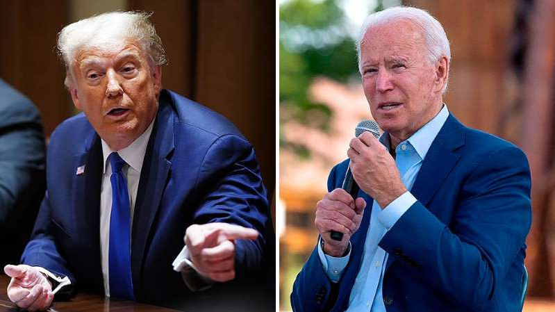 Joe Biden, Donald Trump are posing for a picture: Poll: Biden leads Trump by 5 points nationwide
