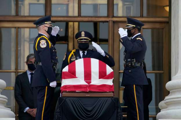 Slide 1 of 38: The flag-draped casket of Justice Ruth Bader Ginsburg lies in repose at the Supreme Court building on Thursday, Sept. 24, 2020, in Washington. Ginsburg, 87, died of cancer on Sept. 18.