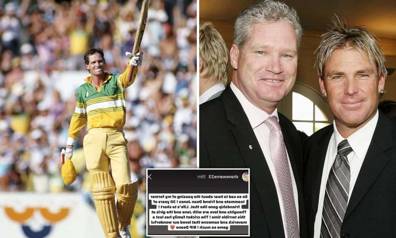 Shane Warne, Dean Jones, Dean Jones are posing for a picture: MailOnline logo