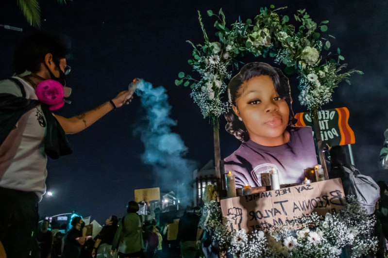 Protesters march against police brutality in Los Angeles, on September 23, 2020, following a decision on the Breonna Taylor case in Louisville, Kentucky.