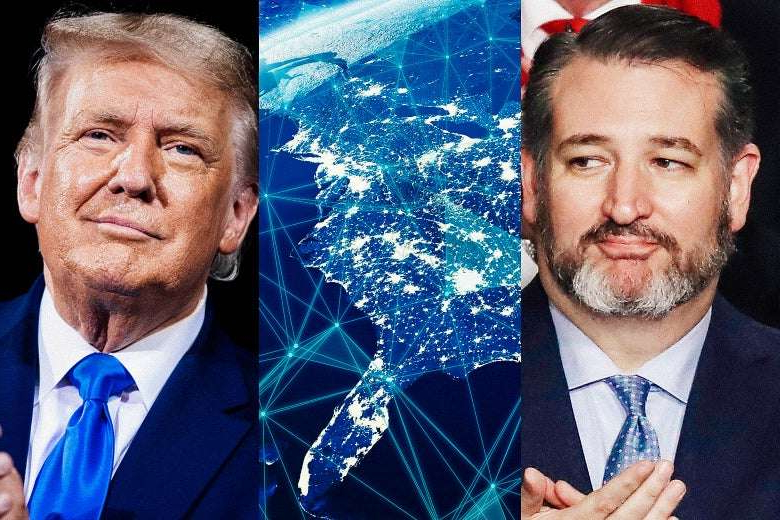 Ted Cruz, Donald Trump are posing for a picture: Photo illustration by Slate. Photos by Brendan Smialowski/AFP via Getty Images, Drew Angerer/Getty Images, and NicoElNino/iStock/Getty Images Plus.