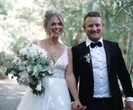 a man and a woman in a wedding dress: Former Bachelor and Bachelor In Paradise star Tara Pavlovic has given fans a glimpse of her very quirky wedding day to Nick Shepherdson - complete with the bride and groom tucking into cheeseburgers.