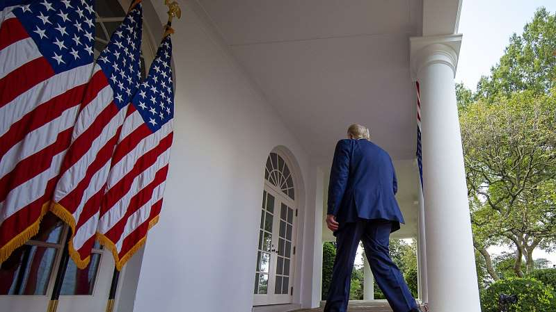 President Donald Trump walks away after he delivers an update on the nation's Covid-19 testing strategy in the Rose Garden of the White House on September 28, 2020, in Washington, DC.