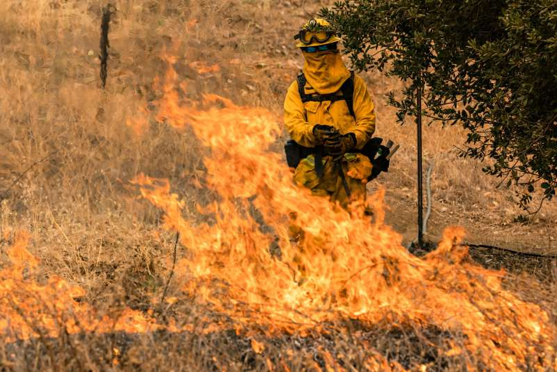 a man riding a bike down a dirt road: A firefighter watching the edge of a flame creeping across a field as the Glass Fire continues to burn in Napa Valley, California on September 29.
