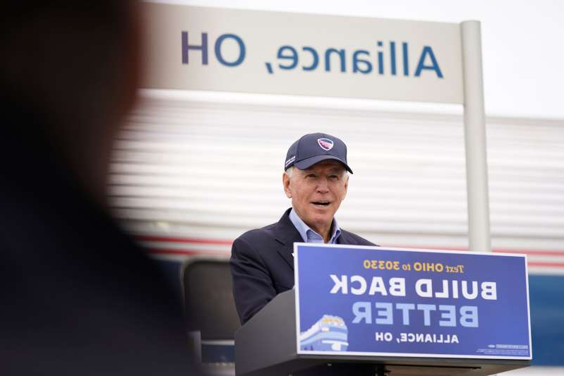 Democratic presidential candidate former Vice President Joe Biden speaks at Amtrak's Alliance Train Station, Wednesday, Sept. 30, 2020, in Alliance, Ohio. Biden is on a train tour through Ohio and Pennsylvania today. (AP Photo/Andrew Harnik)