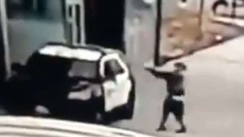 a close up of a person: A gunman opens fire on two LA County Sheriff's deputies