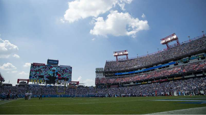 a group of people on a field: A view of Nissan Stadium, where the Titans were due to host the Steelers in Week 4