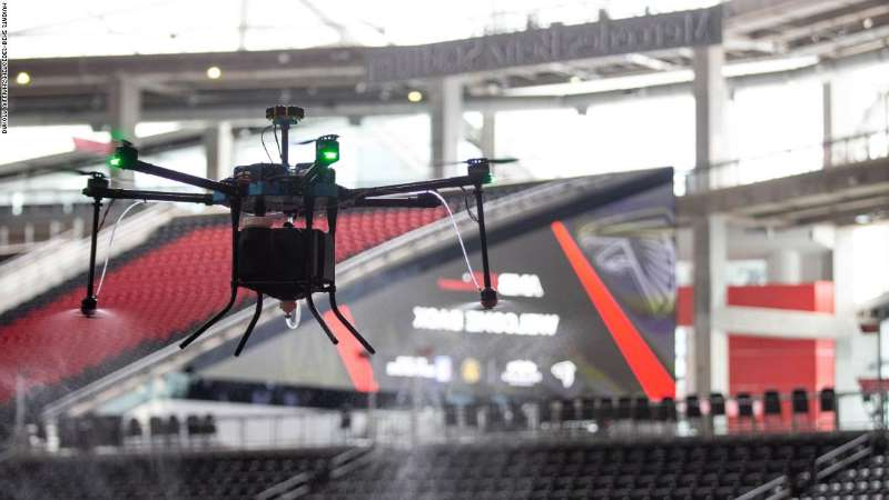 Mercedes-Benz Stadium in Atlanta using drone technology for sanitation protocol.