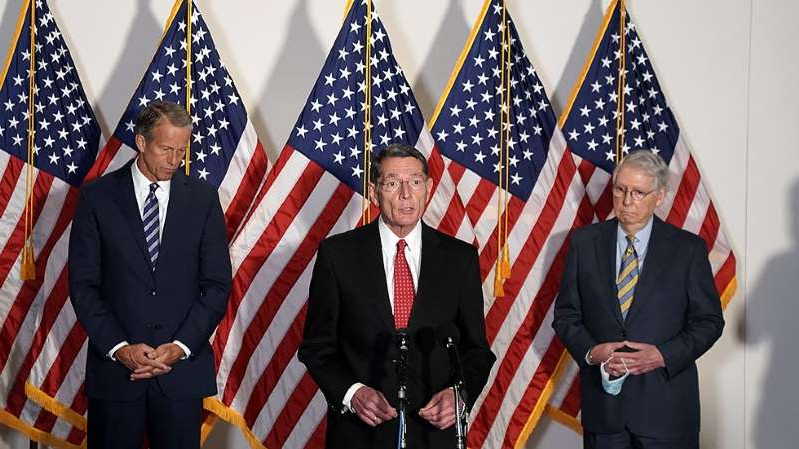 Mitch McConnell, John Barrasso, John Thune are posing for a picture: On The Money: GOP cool to White House's $1.6T coronavirus price tag | Company layoffs mount as pandemic heads into fall | Initial jobless claims drop to 837,000
