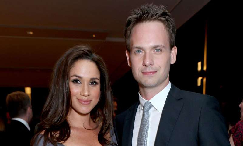 Patrick J. Adams, Meghan Markle are posing for a picture: Hello! Magazine