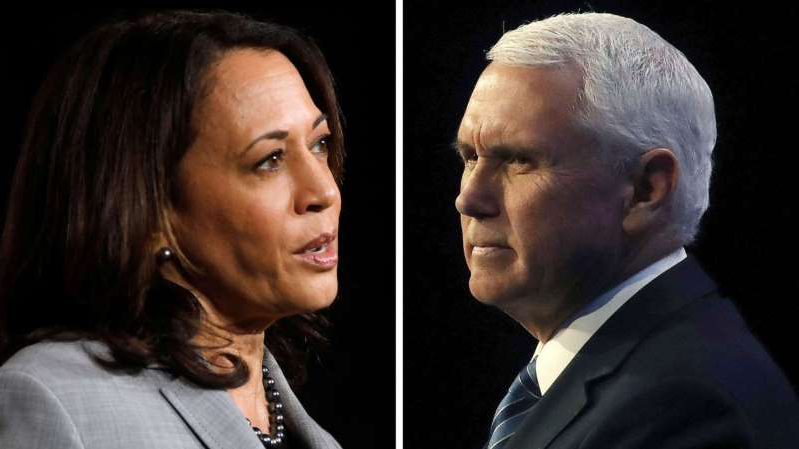 Mike Pence, Kamala Harris looking at the camera: Vice President Mike Pence and Senator Kamala Harris are pictured in a composite image.