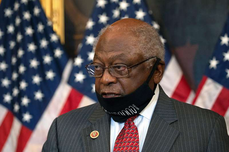 a man wearing a neck tie: House Majority Whip and subcommittee chairman Rep. James Clyburn, D-S.C., speaks at a news conference on Sept. 17, 2020 in Washington.