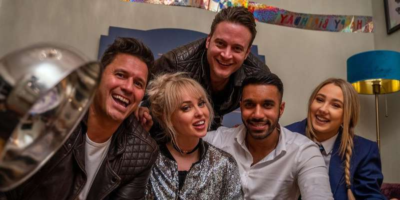 Gary Lucy, Jorgie Porter, Jeremy Edwards posing for the camera: Hollyoaks cast members will star in Come Dine With Me specials for the soap's 25th anniversary week.