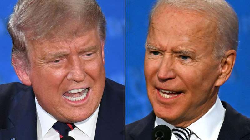 Joe Biden, Donald Trump are posing for a picture: This combination of pictures created on September 29, 2020, shows Democratic presidential candidate and former US Vice President Joe Biden and US President Donald Trump speaking during the first presidential debate in Cleveland, Ohio.