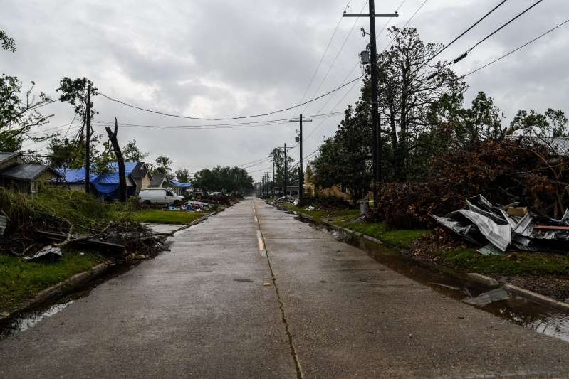A deserted street seen in Lake Charles, Louisiana on October 8, a day before Hurricane Delta is expected to make landfall in the state.