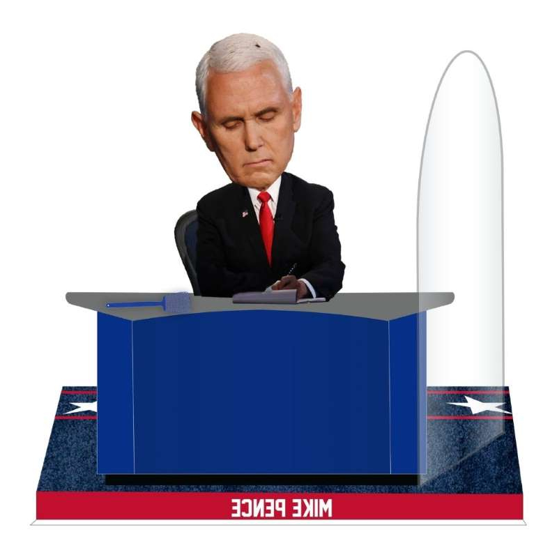 Mike Pence wearing a suit and tie: The National Bobblehead Hall of Fame and Museum unveiled a Mike Pence Fly bobblehead, capturing the meme-able moment from the vice president debate on Oct. 7, 2020.