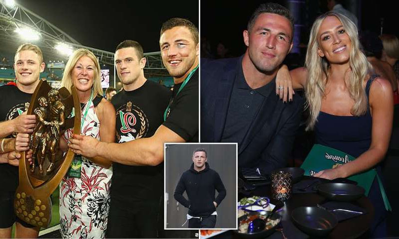 Sam Burgess, Sam Burgess, Sam Burgess, Luke Burgess, Julie Burgess, Tom Burgess posing for a photo: MailOnline logo