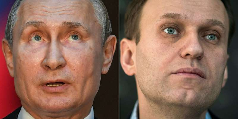 Alexei Navalny, Vladimir Putin are posing for a picture: A composite image of Russian opposition leader Alexei Navalny and President Vladimir Putin. MLADEN ANTONOV,TIZIANA FABI/AFP via Getty Images