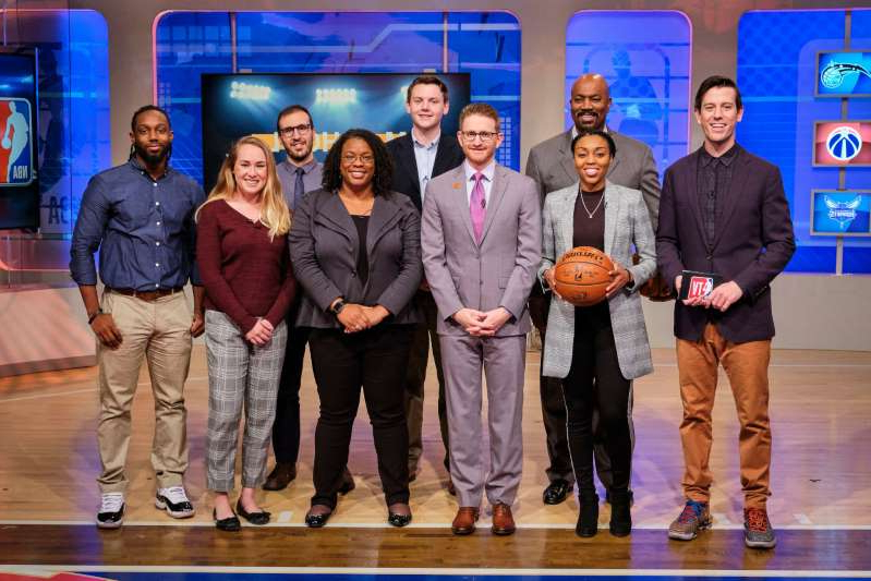 Ben Lyons, Renee Montgomery, Billy King posing for a photo: NBA TV's GM School