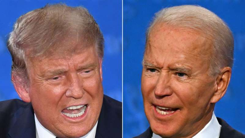 Joe Biden, Donald Trump are posing for a picture: President Donald Trump and Democratic nominee Joe Biden at the first presidential debate on September 29. With the second debate canceled, both candidates will hold their own town hall.