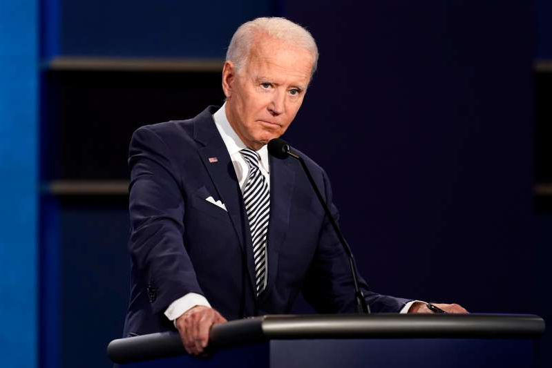 Joe Biden wearing a suit and tie: Democratic presidential nominee Joe Biden at the first presidential debate on Sept. 29, 2020, in Cleveland.