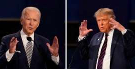 Donald Trump, Joe Biden are posing for a picture: In this combination image of two photos showing both U.S. President Donald Trump, left, and former vice-president Joe Biden during the first presidential debate on Sept. 29.