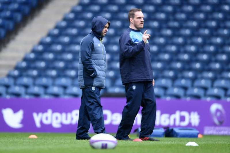 Gethin Jenkins standing next to a football ball: Danny Wilson alongside Gethin Jenkins during their time together at Cardiff Blues
