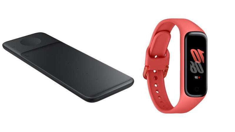 Samsung Galaxy Fit 2 (left) and the Trio wireless charger (right).