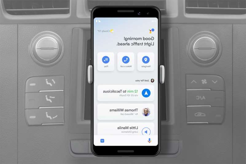 graphical user interface, application: Google Assistant driving mode on Android