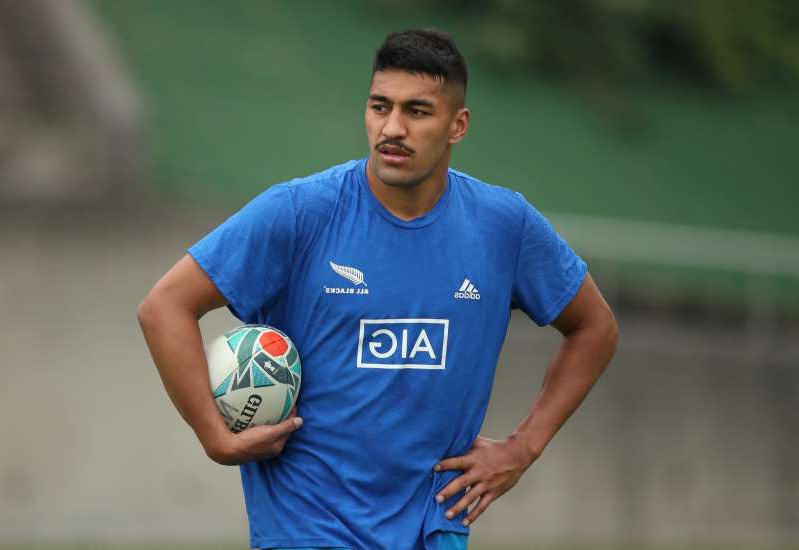 Rieko Ioane in a blue uniform holding a football ball: Rugby Union - Rugby World Cup - New Zealand Captain's Run