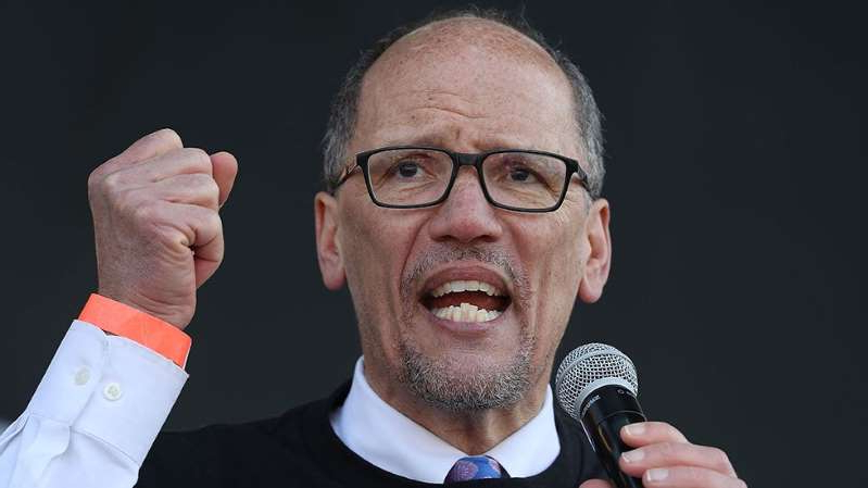 Thomas Perez wearing a microphone: Perez on Biden's poll leads: Democrats 'take nothing for granted'