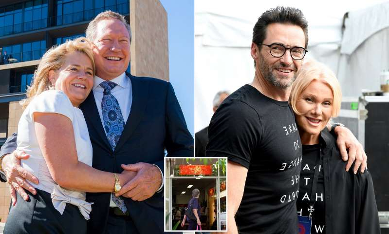 Deborra-Lee Furness, Hugh Jackman, Andrew Forrest are posing for a picture: MailOnline logo