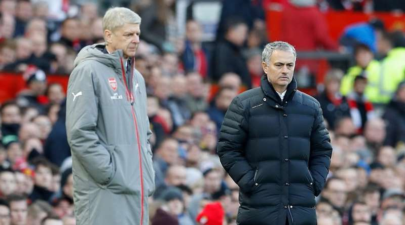 Jose Mourinho, Arsene Wenger are posing for a picture: Arsene Wenger, Jose Mourinho
