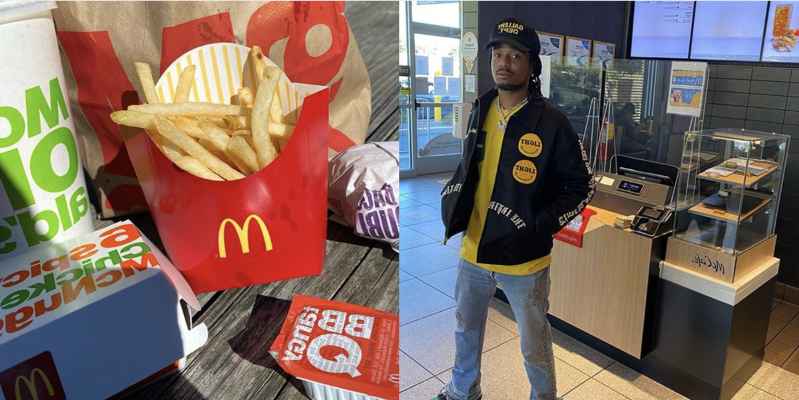 Quavo posted a photo at McDonald's and shared his go-to order of a plain cheeseburger, new spicy nuggets, medium fry, and barbecue sauce.