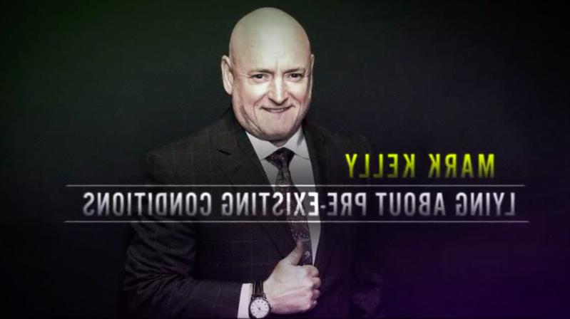 Scott Kelly wearing a suit and tie: In this screengrab from a campaign ad for Senator Martha McSally (R-Arizona), retired astronaut Scott Kelly is incorrectly identified as McSally's Democratic challenger Mark Kelly, Scott Kelly's twin brother