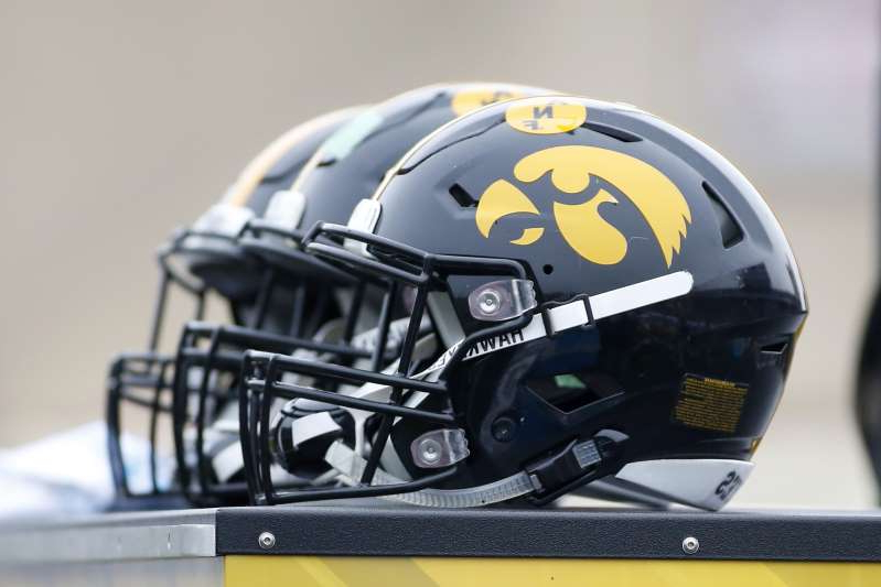 a close up of a helmet: CB Jordan Oladokun cited the racial allegations and $20 million demands from former Black players when announcing he had decommitted from the Hawkeyes. (Justin Casterline/Getty Images)