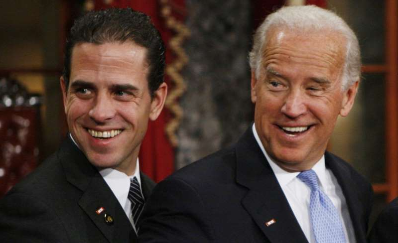 Joe Biden, Hunter Biden are posing for a picture